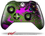 Decal Style Skin for Microsoft XBOX One Wireless Controller Halftone Splatter Hot Pink Green - (CONTROLLER NOT INCLUDED)
