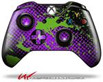 Decal Style Skin for Microsoft XBOX One Wireless Controller Halftone Splatter Green Purple - (CONTROLLER NOT INCLUDED)