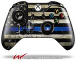 Decal Style Skin for Microsoft XBOX One Wireless Controller Painted Faded Cracked Blue Line Stripe USA American Flag - (CONTROLLER NOT INCLUDED)