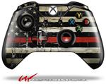 Decal Style Skin for Microsoft XBOX One Wireless Controller Painted Faded and Cracked Red Line USA American Flag - (CONTROLLER NOT INCLUDED)