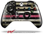 Decal Style Skin for Microsoft XBOX One Wireless Controller Painted Faded and Cracked Pink Line USA American Flag - (CONTROLLER NOT INCLUDED)
