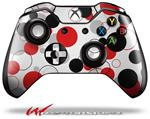 Decal Style Skin for Microsoft XBOX One Wireless Controller Lots of Dots Red on White - (CONTROLLER NOT INCLUDED)