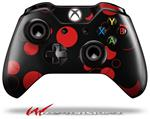 Decal Style Skin for Microsoft XBOX One Wireless Controller Lots of Dots Red on Black - (CONTROLLER NOT INCLUDED)