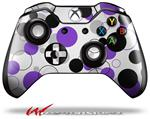 Decal Style Skin for Microsoft XBOX One Wireless Controller Lots of Dots Purple on White - (CONTROLLER NOT INCLUDED)
