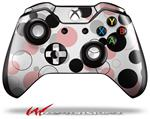 Decal Style Skin for Microsoft XBOX One Wireless Controller Lots of Dots Pink on White - (CONTROLLER NOT INCLUDED)