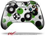 Decal Style Skin for Microsoft XBOX One Wireless Controller Lots of Dots Green on White - (CONTROLLER NOT INCLUDED)