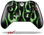 Decal Style Skin for Microsoft XBOX One Wireless Controller Metal Flames Green - (CONTROLLER NOT INCLUDED)