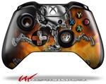 Decal Style Skin for Microsoft XBOX One Wireless Controller Chrome Skull on Fire - (CONTROLLER NOT INCLUDED)