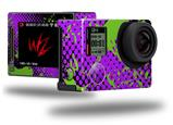 Halftone Splatter Green Purple - Decal Style Skin fits GoPro Hero 4 Silver Camera (GOPRO SOLD SEPARATELY)