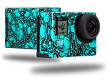 Scattered Skulls Neon Teal - Decal Style Skin fits GoPro Hero 4 Black Camera (GOPRO SOLD SEPARATELY)