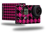 Houndstooth Hot Pink on Black - Decal Style Skin fits GoPro Hero 4 Black Camera (GOPRO SOLD SEPARATELY)