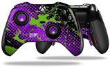 Halftone Splatter Green Purple - Decal Style Skin fits Microsoft XBOX One ELITE Wireless Controller (CONTROLLER NOT INCLUDED)