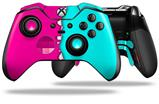 Ripped Colors Hot Pink Neon Teal - Decal Style Skin fits Microsoft XBOX One ELITE Wireless Controller (CONTROLLER NOT INCLUDED)