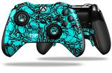 Scattered Skulls Neon Teal - Decal Style Skin fits Microsoft XBOX One ELITE Wireless Controller (CONTROLLER NOT INCLUDED)