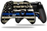Painted Faded Cracked Blue Line Stripe USA American Flag - Decal Style Skin fits Microsoft XBOX One ELITE Wireless Controller (CONTROLLER NOT INCLUDED)
