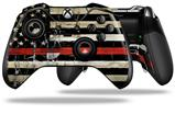 Painted Faded and Cracked Red Line USA American Flag - Decal Style Skin fits Microsoft XBOX One ELITE Wireless Controller (CONTROLLER NOT INCLUDED)