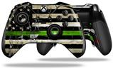 Painted Faded and Cracked Green Line USA American Flag - Decal Style Skin fits Microsoft XBOX One ELITE Wireless Controller (CONTROLLER NOT INCLUDED)